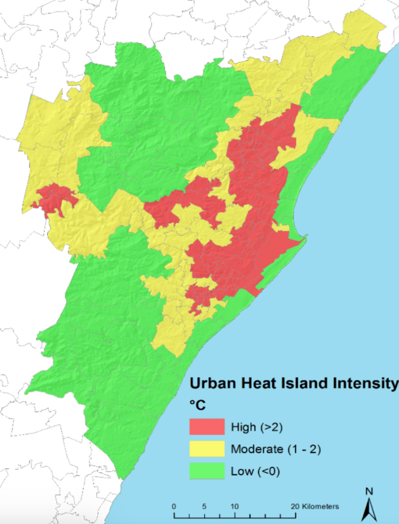 Heat vulnerability map of Durban, South Africa